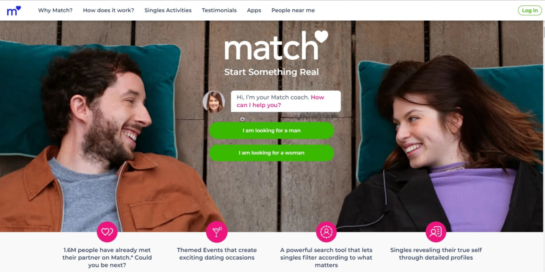 Homepage of Match.com